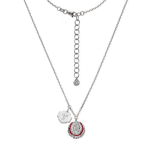 Philadelphia Phillies Crystal Sterling Silver Baseball & Logo Charm Necklace