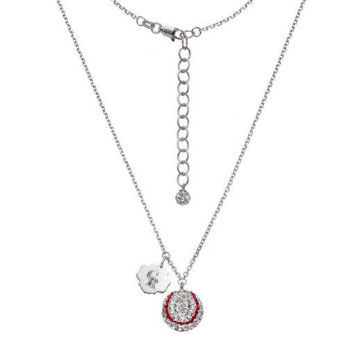 Colorado Rockies Crystal Sterling Silver Baseball & Logo Charm Necklace