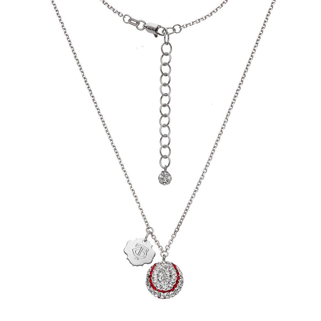 Minnesota Twins Crystal Sterling Silver Baseball & Logo Charm Necklace