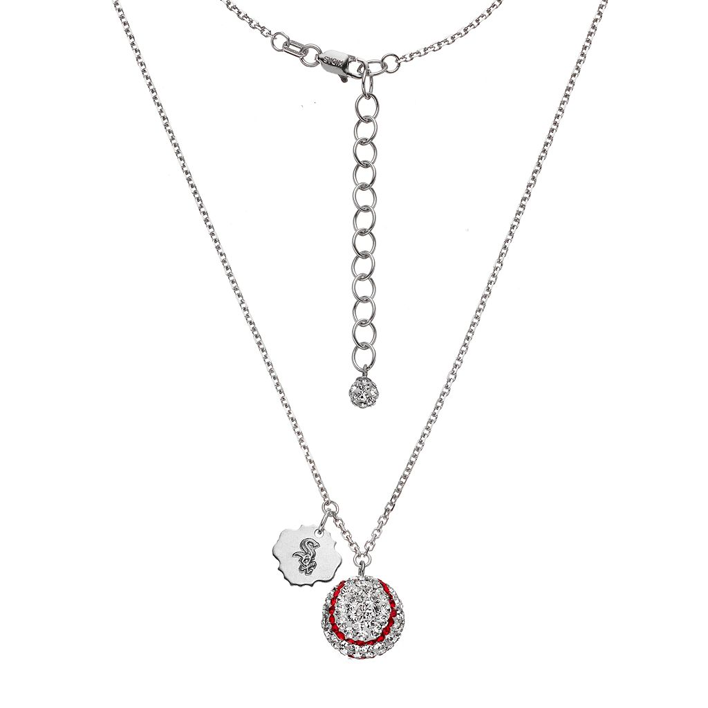Chicago White Sox Crystal Sterling Silver Baseball & Logo Charm Necklace