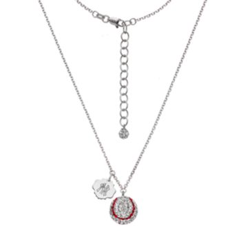 New York Yankees Crystal Sterling Silver Baseball & Logo Charm Necklace