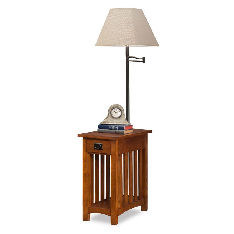 Leick Furniture Mission Oak Finish Lamp & End Table, Other Clrs