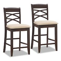 Leick Furniture Double Crossback Microfiber Counter Stool 2 pc Set