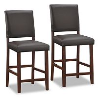 Leick Furniture Faux Leather Counter Stool 2 pc Set