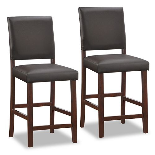 Leick Furniture Faux Leather Counter Stool 2-piece Set