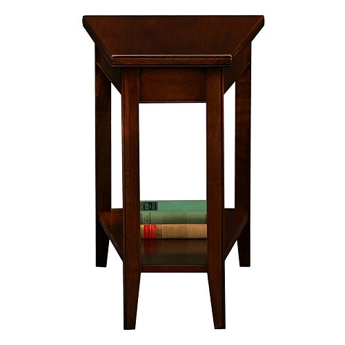 Leick Furniture Chocolate Cherry Finish Wedge End Table