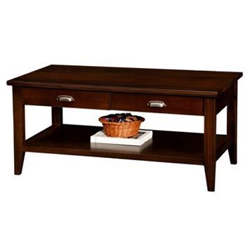 Leick Furniture Chocolate Cherry Finish 2-Drawer Coffee Table
