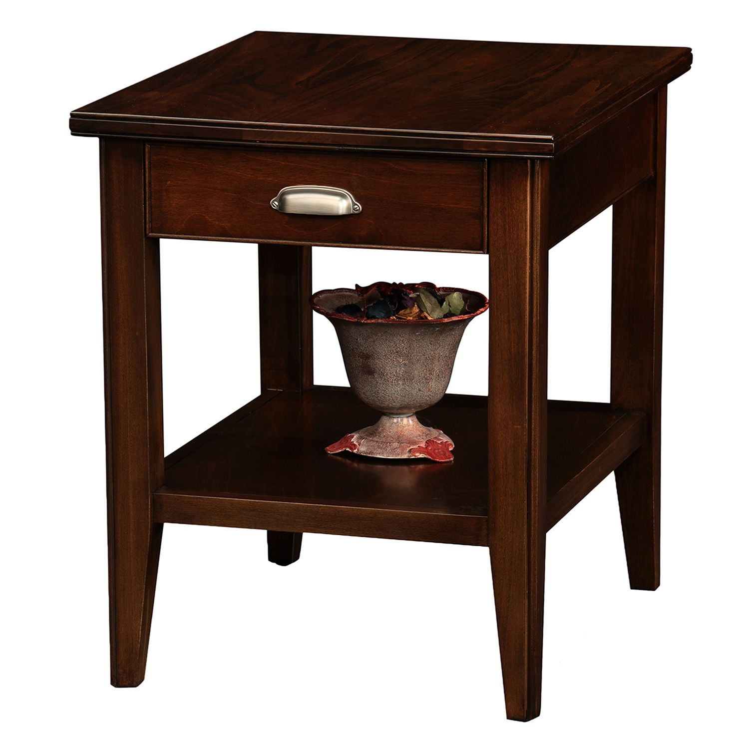 Attirant Leick Furniture Chocolate Cherry Finish 1 Drawer End Table