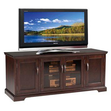 Leick Furniture Chocolate Cherry Finish Glass Door TV Stand