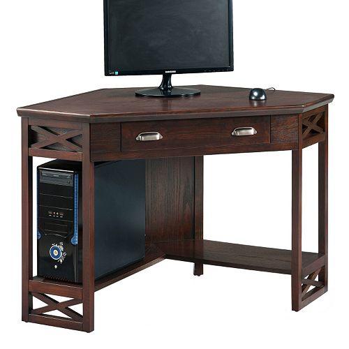 Leick Furniture Chocolate Oak Finish Corner Computer Desk