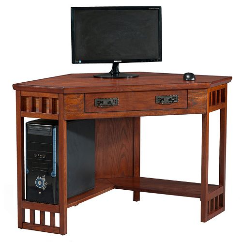 Leick Furniture Mission Oak Finish Corner Computer Desk