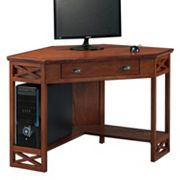 Leick Furniture Oak Finish Corner Computer Desk