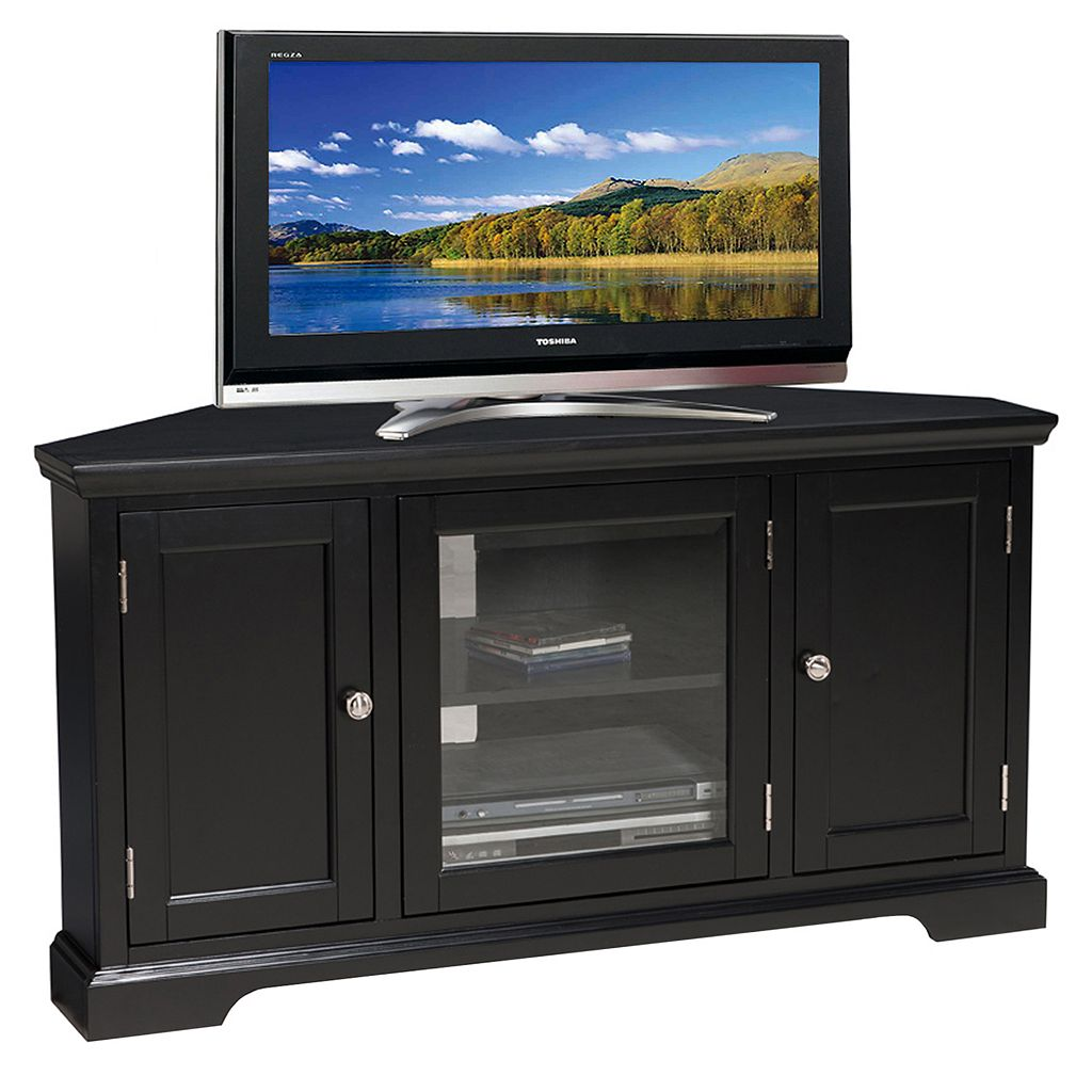 Leick Furniture Black Finish 2-Door Corner TV Stand