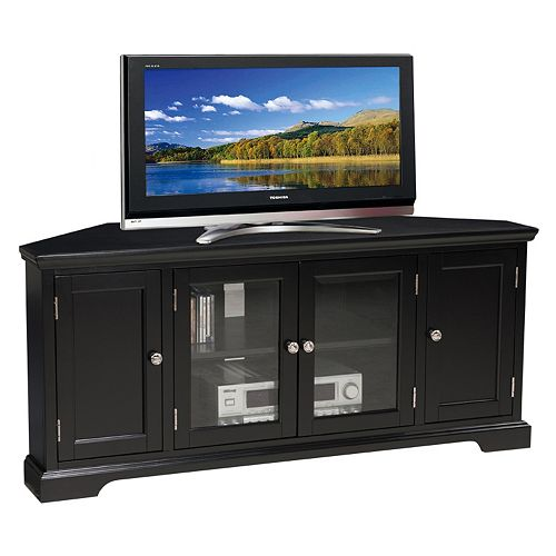 Leick Furniture Black Finish 4-Door Corner TV Stand