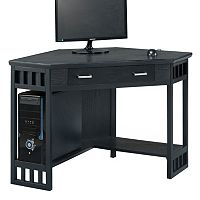Leick Furniture Black Finish Corner Computer Desk