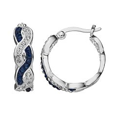 Crystal Luxuries Silver-Plated Woven Hoop Earrings