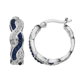 Crystal Luxuries Silver-Plated Woven Hoop Earrings