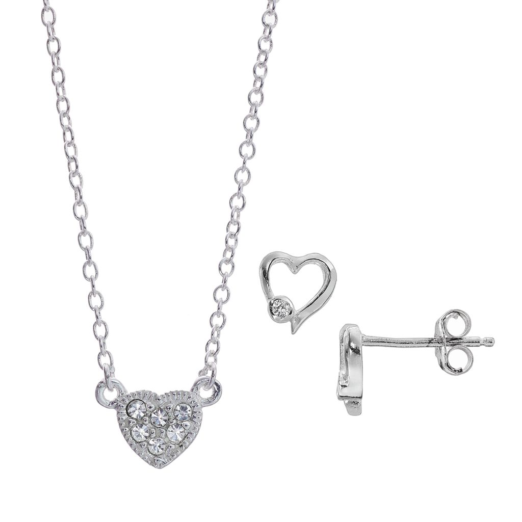 Itsy Bitsy Crystal Heart Necklace & Earring Set