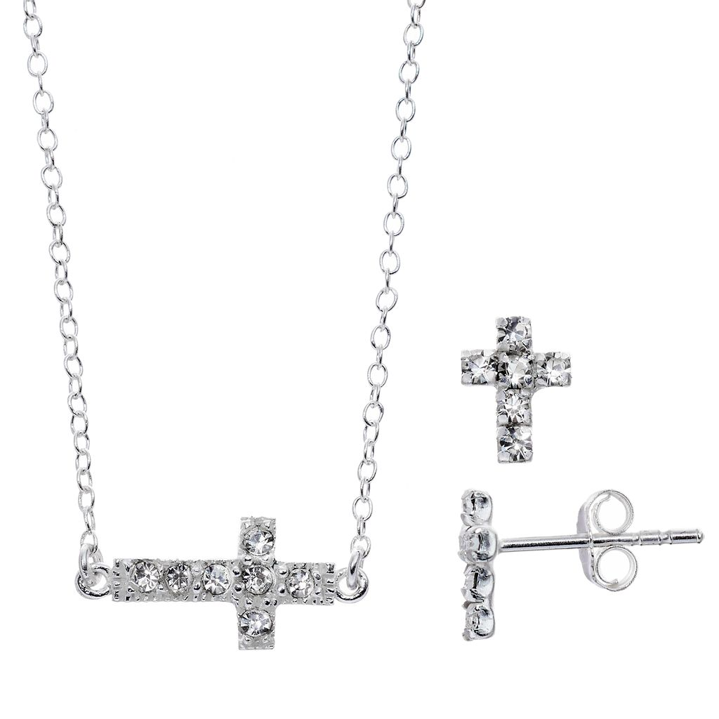 Itsy Bitsy Crystal Cross Necklace & Earring Set