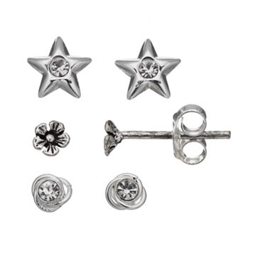 Itsy Bitsy Star, Flower & Love Knot Stud Earring Set