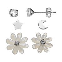 Itsy Bitsy Sterling Silver Star & Moon, Flower, & Cubic Zirconia Stud Earring Set