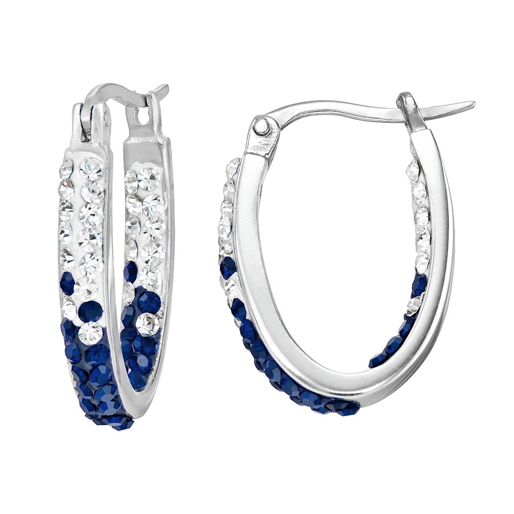 Auburn Tigers Crystal Sterling Silver Inside Out U-Hoop Earrings