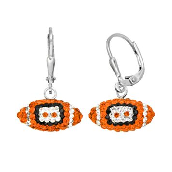 Clemson Tigers Crystal Sterling Silver Football Drop Earrings