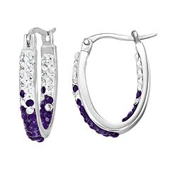 Kansas State Wildcats Crystal Sterling Silver Inside Out U-Hoop Earrings
