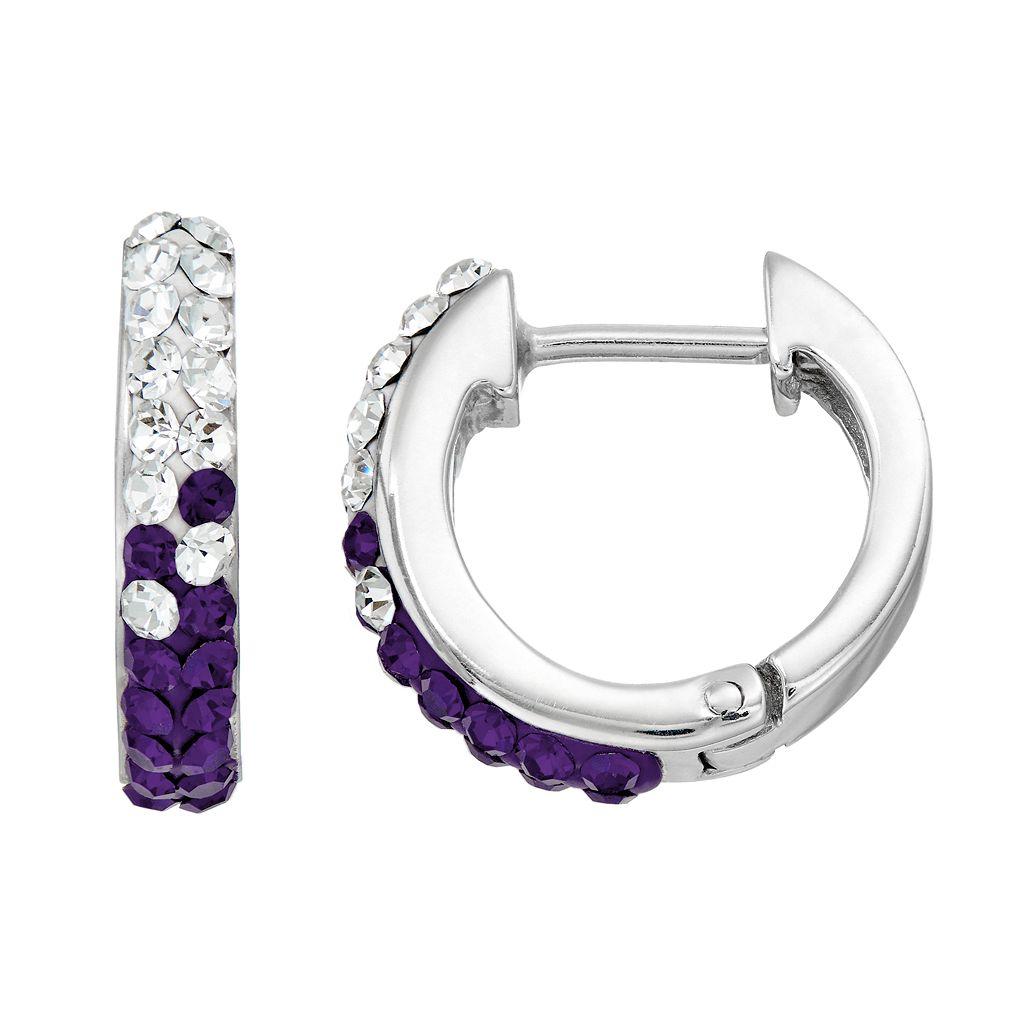 Kansas State Wildcats Crystal Sterling Silver Huggie Hoop Earrings