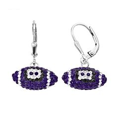 LSU Tigers Crystal Sterling Silver Football Drop Earrings