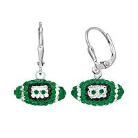Michigan State Spartans Crystal Sterling Silver Football Drop Earrings