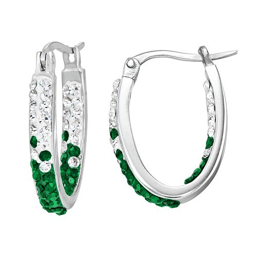 Michigan State Spartans Crystal Sterling Silver Inside Out U-Hoop Earrings
