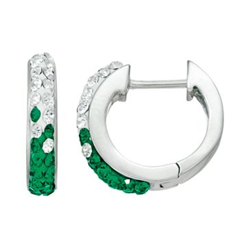Michigan State Spartans Crystal Sterling Silver Huggie Hoop Earrings