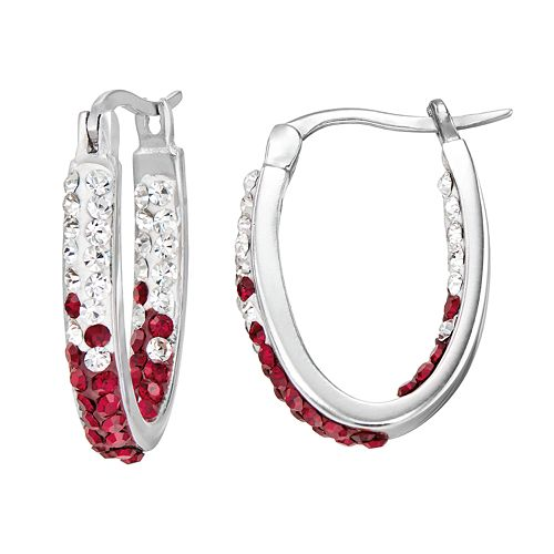 Mississippi State Bulldogs Crystal Sterling Silver Inside Out U-Hoop Earrings