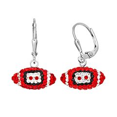 Ohio State Buckeyes Crystal Sterling Silver Football Drop Earrings