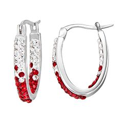 Ohio State Buckeyes Crystal Sterling Silver Inside Out U-Hoop Earrings