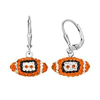 Oklahoma State Cowboys Crystal Sterling Silver Football Drop Earrings