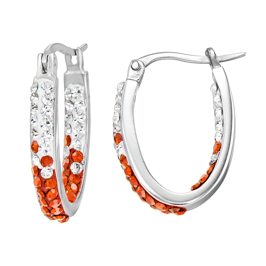 Oklahoma State Cowboys Crystal Sterling Silver Inside Out U-Hoop Earrings