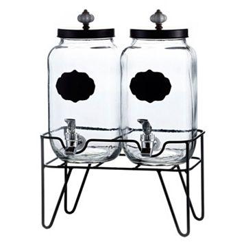 Style Setter Manchester Chalkboard Glass Beverage Dispenser Set