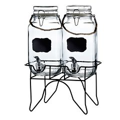 Style Setter Newcastle Chalkboard Glass Beverage Dispenser Set