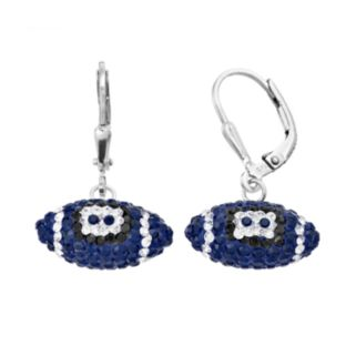Penn State Nittany Lions Crystal Sterling Silver Football Drop Earrings