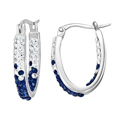 Penn State Nittany Lions Crystal Sterling Silver Inside Out U-Hoop Earrings