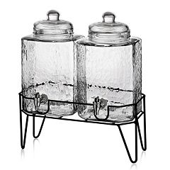 Style Setter Hamburg 2 pc Glass Beverage Dispenser Set with Stand