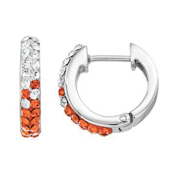 Syracuse Orange Crystal Sterling Silver Huggie Hoop Earrings