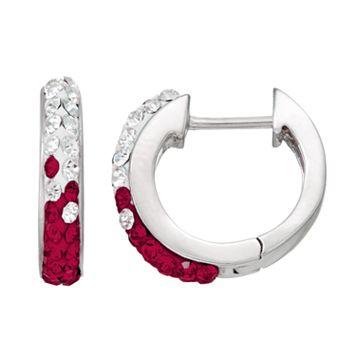 Texas A&M Aggies Crystal Sterling Silver Huggie Hoop Earrings