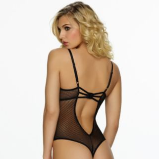Jezebel Niki Sheer Stripe Thong-Back Lingerie Bodysuit 399978 - Women's