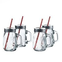 Style Setter SoHo La Maison 4 pc Lidded Mason Jar Glass Set