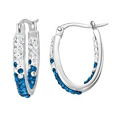Kentucky Wildcats Crystal Sterling Silver Inside Out U-Hoop Earrings