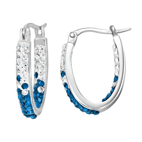 Kentucky Wildcats Crystal Sterling Silver Inside Out U-Hoop Earrings