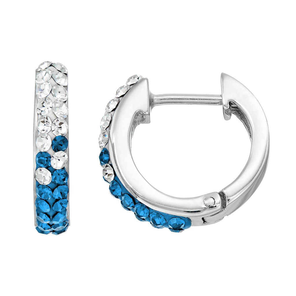 Kentucky Wildcats Crystal Sterling Silver Huggie Hoop Earrings